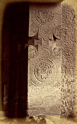 Close view of pilaster at right end of verandah of Buddhist Vihara, Cave XXI, Ajanta